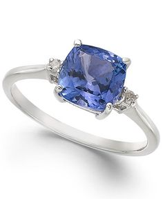 14k White Gold Ring, Tanzanite (1-5/8 ct. t.w.) and Diamond Accent Cushion Ring - Rings - Jewelry & Watches - Macy's