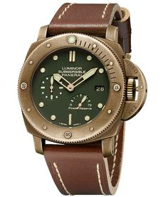 Panerai Luminor 1950 Submersible Green Dial Bronze Leather Men's Watch PAM00507