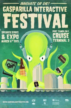 Poster design for the first annual Gasparilla Interactive Festival #poster #design