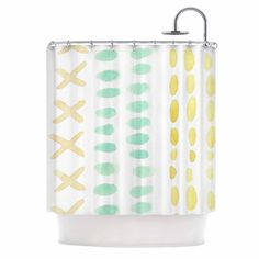 "Jennifer Rizzo ""Dots And Dashes"" Teal Yellow Shower Curtain"
