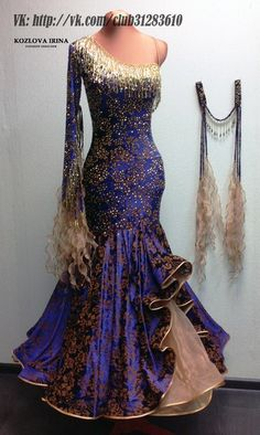 Luxurious patterned blue gown with tan ruffles, gold fringe, and extensive… Ballroom Costumes, Latin Ballroom Dresses, Ballroom Dance Dresses, Ballroom Dancing, Dance Costume, Beautiful Costumes, Beautiful Gowns, Beautiful Outfits, Dance Fashion