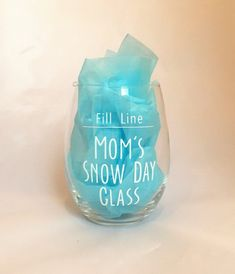 Items similar to Mom's Snow Day Glass - Wine Glass - Customizable - Funny Wine Glass on Etsy Wine By The Glass, Funny Wine, Snow, Messages, Hand Washing, Tableware, Tumbler, Dishwasher, Handmade