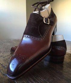 Men,s Handmade Brown formal monk Shoes, Men dress shoes, Men leather shoes - Dress/Formal
