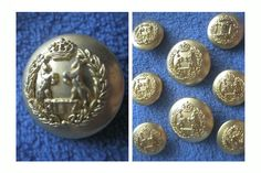 ButtonArtMuseum.com - Ritz Saddler Italy Designer Gold Color Metal 8 Blazer Jacket Button Set