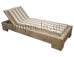 Ξύλινη ξαπλώστρα Ερατώ, χειροποίητη από ξύλπ οξιάς με αδιάβροχο μαξιλάρι. www.omprela.gr/προιοντα/προιοντα-καταλογος/ξαπλωστρες-παραλιας/item/23-ξαπλώστρα-παραλίας-ξύλινη-ερατώ.html