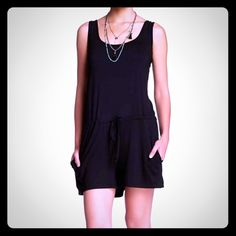 """Love Stitch Weave Back Drawstring Romper Size M Love Stitch Weave Back Drawstring Romper Size M retail $98 EUC Worn Once!  Details: - Scoop neck - Sleeveless - Back weave detail - Drawstring waist - 2 front slash pockets - Approx. 2"""" inseam, 35"""" length - Imported  Fiber Content: 95% rayon, 5% spandex  Care: Machine wash cold  Additional Info: Fit: this style fits true to size.  Model's stats for sizing: - Height: 5'11""""  - Bust: 34""""  - Waist: 23""""  - Hips: 34.5""""  Model is wearing size S. Love…"""
