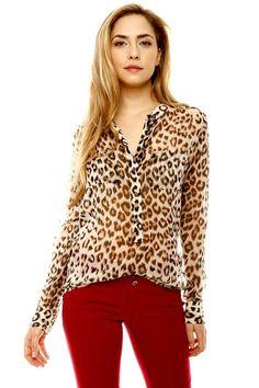 Leopard Contrast Blouse