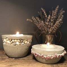 Concrete votive candle holder or succulent planter with shells from bear lake utah, beach, cottage, or farmhouse room decor, gift for home by winterberrydesignco on Etsy https://www.etsy.com/listing/578238025/concrete-votive-candle-holder-or
