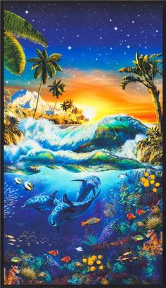 Picture This-surf And Sea Animals Digital Panel x Cotton Fabric by Robert Kaufman Dieses Bild-Brandung und Meerestiere Digital Panel 24 Underwater Animals, Underwater Art, Ocean Art, Ocean Life, Art Plage, Dolphin Art, Beautiful Nature Wallpaper, Beautiful Scenery, Wale