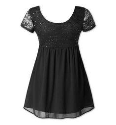 Vestidos de noche para gorditas: fotos de los modelos - Vestido de encaje y lentejuelas CYA Short Sleeve Dresses, Dresses With Sleeves, Black, Fashion, Templates, Dress Lace, Sequins, Blouses, Evening Dresses