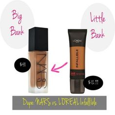 Makeup Dupes [NARS Luminous and L'Oreal Infallible Foundations].