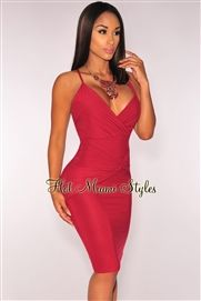 Wine Faux Suede Crisscross Back Knotted Dress