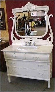 Vintage bathroom vanity in white