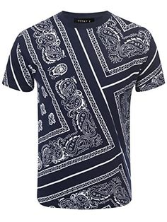 f51b90b93f8 URBAN K men s Hipster Hustle Bandana Print   Faux Leather Crewneck T-Shirt
