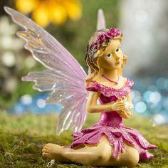 Miniature Dollhouse FAIRY GARDEN ~ Mini Yellow Butterfly Sparkle Girl w Cat
