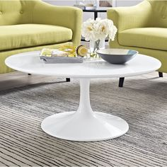 Langley Street Julien Round Coffee Table Size: H x White Round Coffee Table, Coffee Table Size, Cool Coffee Tables, Coffee Table With Storage, Coffee Table Design, Modern Coffee Tables, Living Room Modern, Rugs In Living Room, Living Room Furniture
