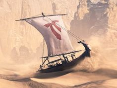 I like this idea - sailing the sands on scorching desert winds