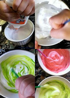 Puffy Paint. 3 ingredients to make a fun activity for your toddler: glue, shaving cream, and food coloring.