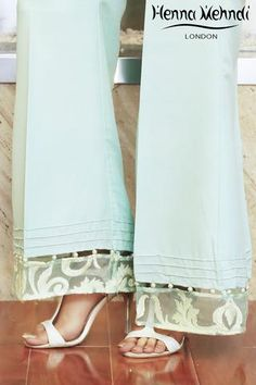 Mint Embroidered & Embellished Trousers