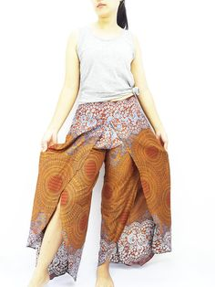 SOP3 Women Fashion Trouser Pants Maxi Trouser Rayon Trouser Comfy Trouser Open Leg Wide Leg Honeycomb Brown
