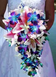 Fate gazer lilies and blue orchid bouquet!