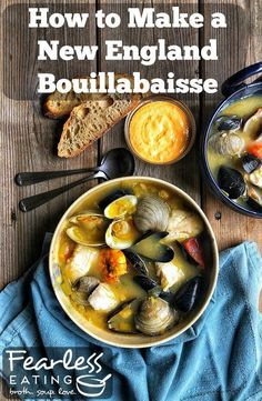 Though traditional bouillabaisse recipes typically have lots of time-consuming and tedious steps homemade versions don't have to be so involved. In my New England bouillabaisse recipe I distill the three most important \ Seafood Soup Recipes, Seafood Stew, Fresh Seafood, Bouillabaisse Recipe, Scotch Broth, Classic French Dishes, Asian Soup, Veggie Soup, Whole Food Recipes