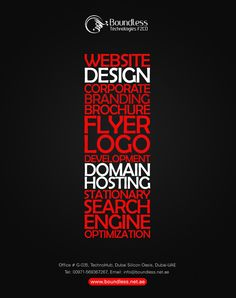 Web designing provided by Boundless Technologies are #designed for the needs of today's #business and we cater high #profile #services to our esteemed #clients in #Dubai, #UAE. We do offer web design services in terms of #CMS based, #Ecommerce, and #Custom #develop #WebPages.  Visit our profile now. https://goo.gl/LjKVhb Contact us now! 00971-043350229 00971-569367267, 056 406 7797  #webexpert #webdesign #webdevelopment #logodesign #CMS #wordpress #christmas #eve #newyear #happychrismas