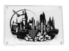 Harry Potter Hogwarts Castle and Golden Snitch // silhouette hand cut paper craft // handmade framed wall artwork
