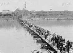 صورة رائعة وبدقة عالية لجسر الكطعة او الجسر العتيق او ما يسمى حاليا جسر الشهداء ويظهر في جانب الرصافة جامع الاصفية  Katah Bridge over the Tigris River
