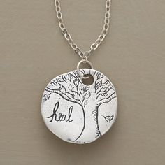 "VALIANT NECKLACE -- Jes MaHarry's oak tree amulet promotes strength of mind with ""heal"" inscribed on the front, ""Be brave and have courage,"" on the back. Sterling silver with lobster clasp. Handmade in USA. 18""L."