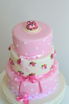 Delicate polka dot & Flowers Girl Cake