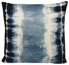 Shibori linen pillow by Kevin O'brien.  Inspired by an ancient japanese dyeing…