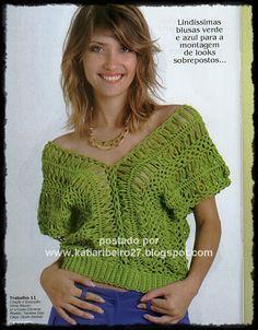 Katia Ribeiro Moda & Decoração Handmade: Blusa em crochê de grampo com receita e gráfico