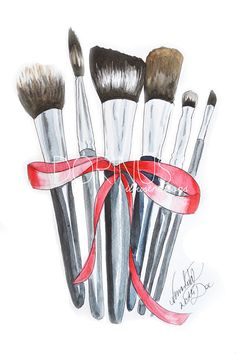 #Makeup #brushes print made of the original watercolor painting.  Artwork by Dorina Nemeskéri    Size:    18 x 24 cm (7 x 9.4)      12$