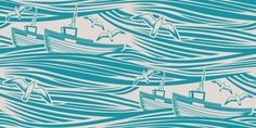 Whitby Denim) - Mini Moderns Wallpapers - A iconic wallpaper featuring a stylised design of boats on rolling waves in Whitby bay. Shown here in washed denim and taupe. Other colourways are available. Please request a sample for a true colour match. Denim Wallpaper, Hall Wallpaper, Colour Match, Fabric Rug, Design Inspiration, Bathroom Inspiration, Design Ideas, Paint Shop, Colorful Wallpaper