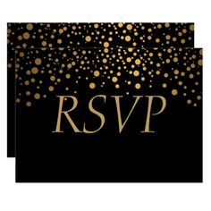 Shop Black and Gold Faux Foil Confetti Dots RSVP Card created by Magical_Weddings. Personalize it with photos & text or purchase as is! Invitation Card Party, Invitation Card Design, Elegant Wedding Invitations, Birthday Invitations, Black Bridal Parties, Marriage Gifts, Wedding Cards, Wedding Pins, Gold Gifts