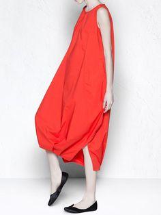 Red Slit Sleeveless Statement Midi Dress