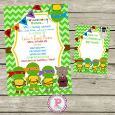 Captivating Ninja+Turtle+Baby+Shower+Invitations+Thank+by+PartyPoshPrintables,
