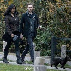 #cutenessoverloaded❤ Tom with puppy   @Regrann from @hiddlestongue -  #TomHiddleston & Lolita Chakrabarti (Queen Gertrude from Hamlet) walking #Bobby in #London Nov, 22 #Torrilla #BeardyTomIsBack - #regrann