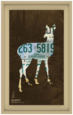 New Hampshire License Plate Wall Decal and a chair