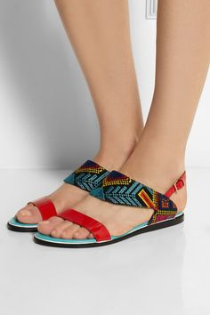 NICHOLAS KIRKWOOD Mexican embroidered patent-leather sandals €360