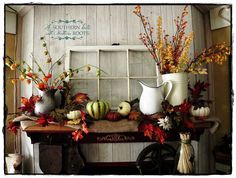 Vintage Fall Decor :: Organized Clutter's clipboard on Hometalk :: Hometalk Thanksgiving Decorations, Seasonal Decor, Halloween Decorations, Fall Decorations, Thanksgiving 2013, Spanish Revival, Design Seeds, Fall Home Decor, Autumn Home