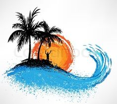 sketches of palm trees | Palm trees and ocean wave Sunset