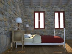 Chios Greece Patrika, renovation of an old medieval house, bedroom SX
