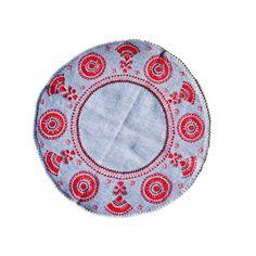 Napkin from Kurpie in blue - Sklep Dom Sztuki Ludowej - Polart w Warszawie Cotton Napkins, Wool Blanket, Hand Embroidery, Folk, Tapestry, Lace, Poland, Costumes, House