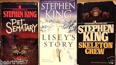 3-Stephen King Skeleton Crew Pet Sematary Lisey's Story PB VG Horror Drama