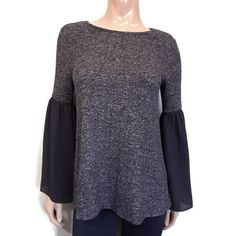 Design Lab Bell Sleeve Top Womens Small Heather Gray Knit Black Sheer Chiffon #DesignLab #Basic #Casual Design Lab, Sheer Chiffon, Heather Gray, Bell Sleeve Top, Blouses, Pullover, Knitting, Best Deals, Grey
