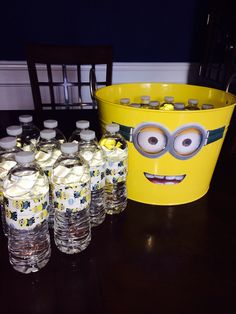 Despicable Me water bottles (minion duct tape after cutting off original label)