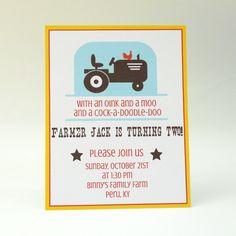 Farm Birthday Invitation Little Tractor Birthday Party. $18.00, via Etsy.