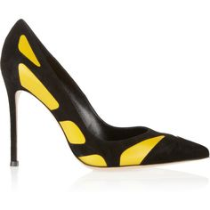 Gianvito Rossi Two-tone suede and leather pumps ($250) ❤ liked on Polyvore featuring shoes, pumps, heels, high heel pumps, black slip-on shoes, heels & pumps, yellow high heel pumps i suede pumps